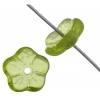 Glass Bead Flower 8mm Olivine Transparent - Strung With Centre Hole